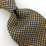 IZOD TIE Micro GEOMETRIC Dots BLUE Gold Silk Necktie Excellent Ties I8-397