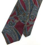 Vtg HALSTON TIE NARROW Ancient Madder Paisley TURQUOISE Brown Silk I7-148