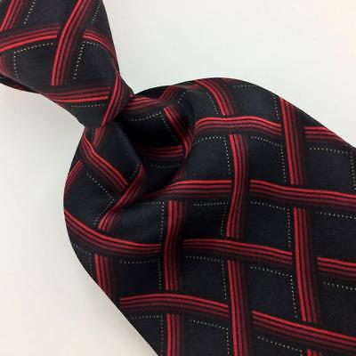 KNIGHTSBRIDGE TIE BLACK RED Cross GRID Dots Silk Necktie Ties I8-225 New