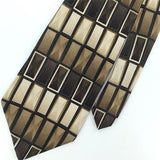 ARROW BLACK BROWN GEOMETRIC Rectangles Silk Mens Necktie H2-282 Excellent Ties