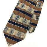 EFENZO FELINI TIE WAVES Stripes BROWN NAVY BLUE Silk Necktie Ties I7-716 NWT