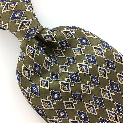 DOMANI USA TIE DIAMONDS OLIVE/GREEN  Blue Brn Silk Necktie Excellent Ties I7-564