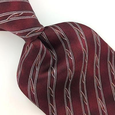 ALEXANDER JULIAN COLOURS USA  STRIPED MAROON Silk Necktie Excellent Ties I7-866