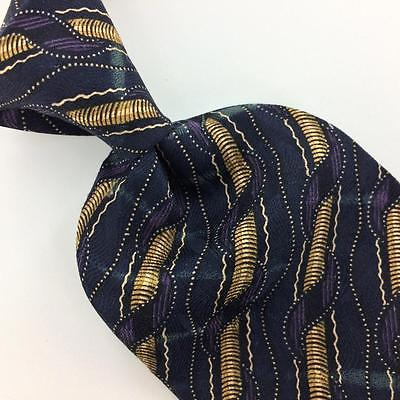 "XL 65"" WOODWARD TIE STRIPED NAVY BLUE PURPLE RODS Silk Necktie Tie Ties I7-276"