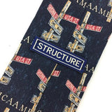 Structure America Street Sign One Way Blue Novelty Linen/Silk Necktie H3-474 New