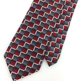 "XL 60"" STAFFORD TIE CHECKERED RED GRAY STRIPED Silk Necktie Ties I8-31 New"