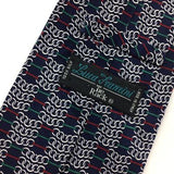 Luca Franzini Tie Made In Italy Red Blue Linked Chain Silk Necktie H3-476 New