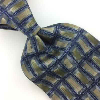 COCKTAIL COLLECTION USA TIE RECTANGLE GRID GRAY Blue Silk Necktie Ties I7-875