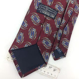 JACOBS ROBERTS Tie US MADE MAROON Blue GEOMETRIC JACQUARD Silk Necktie I7-61