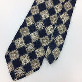 GAP USA TIE DARK/Gray Brown Checkered FLORAL Dots Silk Necktie Ties I7-668