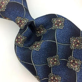 STAFFORD USA TIE GEOMETRIC Floral Gray BLUE Silk Necktie Excellent Ties I7-848