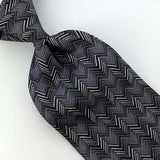 NORDSTROM BY J Z RICHARDS ZIGZAG WAVES GRAY BLK Silk Neck Tie H3-449 New