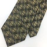DKNY TIE Rust/Gold Black WAVES BLACK Woven Silk Necktie I7-67 Excellent Ties