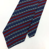 FRESCO USA TIE STRIPED MAROON Gray BLUE Silk Necktie Excellent Ties I7-862