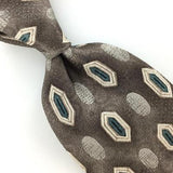 BURMA BIBAS US MADE GEOMETRIC Brown Blue Silk Necktie I1-592 Excellent Ties