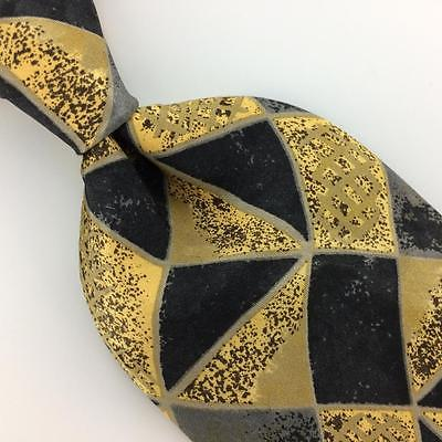 ROBERT TALBOTT STUDIO TIE Shapes Rust/Gold BLACK Silk Necktie Excellent I7-546