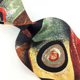 ANONYMOUS MADE IN ITALY Abstract Vibrant Yellow BLACK RED Silk Necktie I8-371