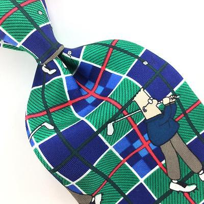 DILBERT USA TIE PLAID PUTTER GREEN BLUE Checkered Silk Men Necktie N4-165 New