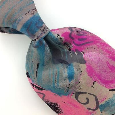 "XL 60"" X ANDRINI TIE USA ABSTRACT PINK GRAY Turquoise Silk Necktie Ties I7-288"