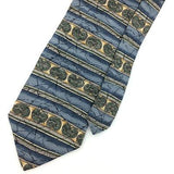 "XL 60"" STAFFORD TIE Sky/Blue Green STRIPED ART DECO Silk Necktie Ties I7-283"