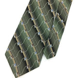 ARROW USA TIE GEOMETRIC Stripes GRAY Green Gold Silk Necktie Ties I7-838