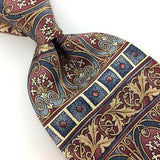 BILL BLASS USA TIE Floral Brocade Brown Gray BLUE Silk Necktie Excellent I7-822