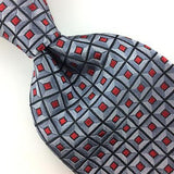 CROFT BARROW TIE GRAY HEAVY GRID RED Tie Woven Silk Necktie I7-43 Excellent