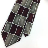 "XL 60"" ARROW TIE MAROON GRAY GEOMETRIC Art Deco Silk Necktie Ties I8-2 New"