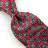 VINTAGE COUNTESS MARA Classic DECO NARROW RED Gray GLOSS Silk Necktie IS8-430