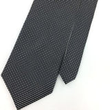 CROFT BARROW TIE HANDMADE GRAY Micro GEOMETRIC Grid Silk Necktie Ties I8-290