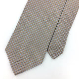 GEOFFREY BEENE Tie MADE IN ITALY BROWN MICRO SQUARED Woven Silk Necktie I7-48