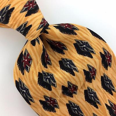 J Z RICHARDS USA TIE GEOMETRIC HANDMADE Yellow Black Silk Necktie Ties I7-674