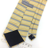 GEOFFREY BEENE Tie US Made IVORY/Yellow Blue STRIPED Woven Silk Necktie I7-60