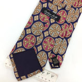 ANDREW SCOTT TIE GEOMETRIC Circles Diamonds BLUE PINK Brown Silk Necktie I8-313