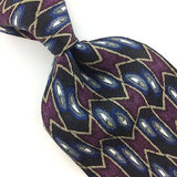 J Z RICHARDS TIE US MADE NAVY BLUE BLACK GEOMETRIC Silk Necktie EUC Ties I7-345