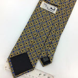 CAPE COD Skinny TIE FLORAL Gold BLUE Interlink Chain Silk Necktie Ties I8-18 New