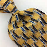 GEOFFREY BEENE MADE IN ITALY GEOMETRIC GOLD Blue GRAY Silk Necktie Ties I8-320