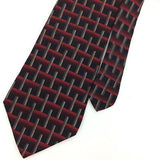 LIBERTY OF LONDON USA TIE RED BLACK Crossed STRIPED Silk Necktie Ties I7-877