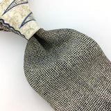 ALLYN SAINT GEORGE USA TIE BROWN Beige Broken/Net Silk Necktie Excellent I7-543