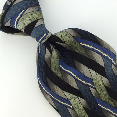 COCKTAIL COLLECTION BLK BLUE SILVER ABSTRACT Silk Men Neck Tie H1-354 Excellent