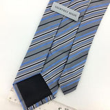 GEOFFREY BEENE TIE NARROW STRIPED GRAY Black BWoven Silk Necktie Ties I7-15 New