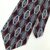 STAFFORD BLUE GRAY MAROON GEOMETRIC Checkered Silk Neck Tie Necktie Ties #D NEW