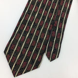 "XL 60"" J FERRAR MADE IN ITALY GEOMETRIC STRIPED MAROON Black Silk Necktie I8-406"