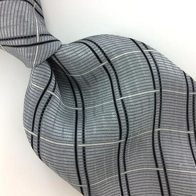 ARROW TIE Cross STRIPED GRAY Black White Silk Necktie Excellent Ties I7-870