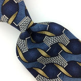 FERAUD USA TIE NAVY BLUE GEOMETRIC BROWN Silk Necktie Excellent Ties I7-903