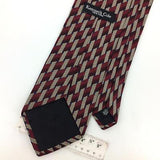 KENNETH COLE USA TIE MAROON BEIGE GEOMETRIC Silk Necktie Excellent Ties I7-890