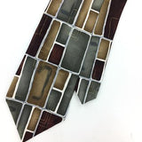 ARROW TIE HANDMADE MAROON Gold GEOMETRIC Deco Silk Necktie Ties I7-442 New