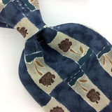 ZYLOS GEORGE MACHADO TIE FLORAL Checkered Brown BLUE Silk Necktie Ties I8-276