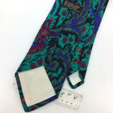Vintage EMILIO PONTI TIE BLUE TURQUOISE PINK Abstract Floral Necktie I8-403 C/W