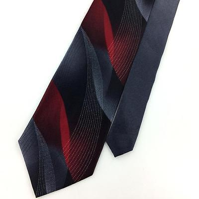 "XL 60"" PIERRE CARDIN TIE MAROON GRAY Waved STRIPED Deco Silk Necktie Ties I7-291"